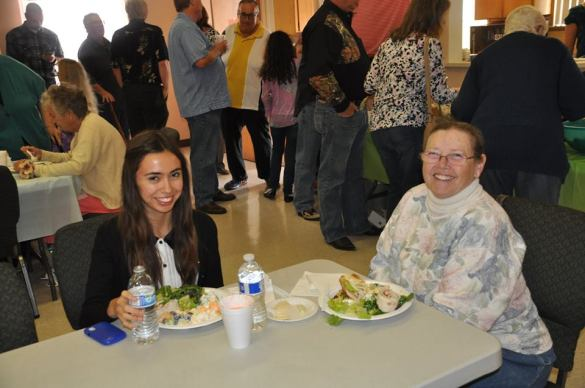 Emmy (left) & Kathy (right)...No the best potlucks in Burbank happen at Burbank Faith.