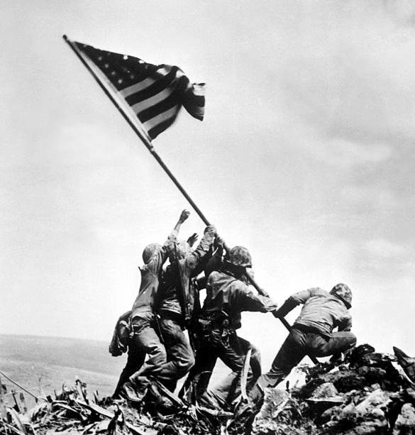 On this day in 1945...this flag was raised own Mt. Suribachi.
